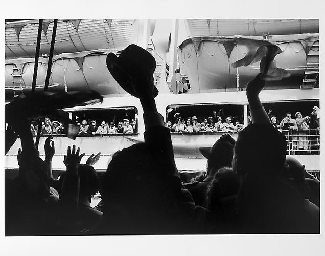 Cruise ship leaving, crowd waving  mid 1950s Gelatin Silver Print