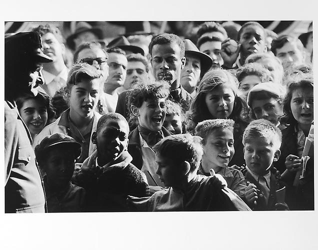 Crowd, close up of faces after game mid 1950s Gelatin Silver Print