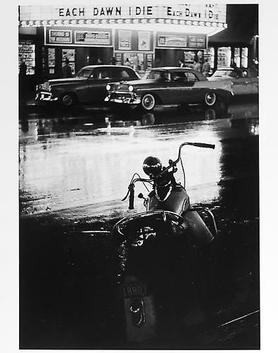 "Motorcycle and ""each dawn I die"" sign  mid 1950s Gelatin Silver Print"