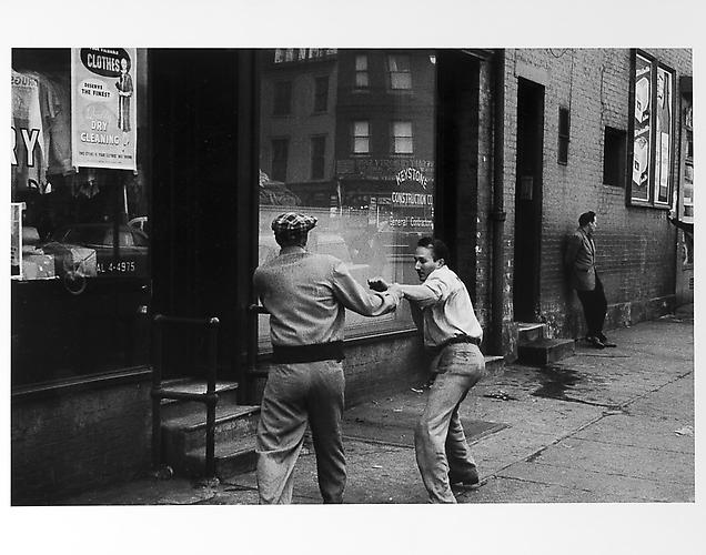 Two men fighting, keystone construction co. sign  mid 1950s Gelatin Silver Print