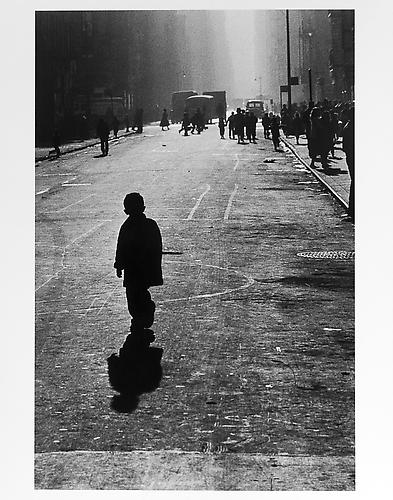 Boy's silhouette and shadow  mid 1950s Gelatin Silver Print