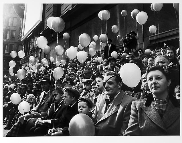 Thanksgiving day parade, balloons, man with eye patch mid 1950s Gelatin Silver Print