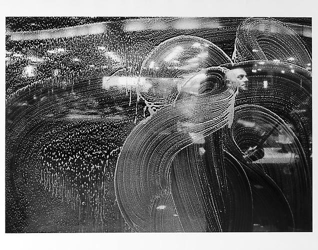 Window washer's face, abstract patterns  mid 1950s Gelatin Silver Print
