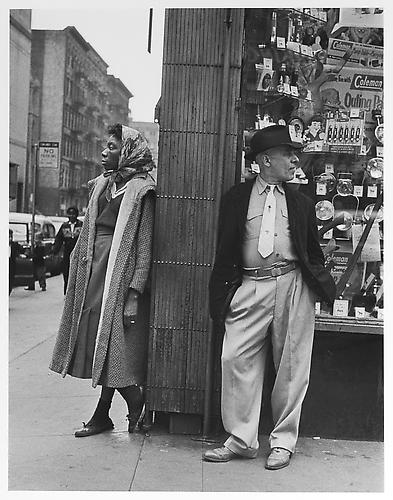 Black woman, white man, store window  mid 1950s Gelatin Silver Print