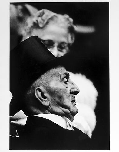 Man in top hat at the opera mid 1950s Gelatin Silver Print