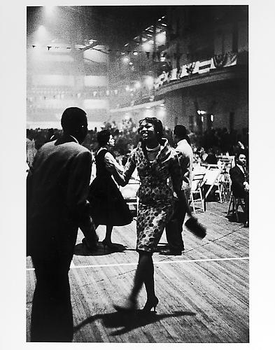 Harlem dance, woman in print dress mid 1950s Gelatin Silver Print