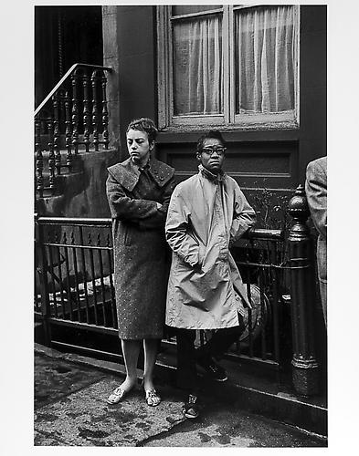 White woman and black woman in coats  mid 1950s Gelatin Silver Print