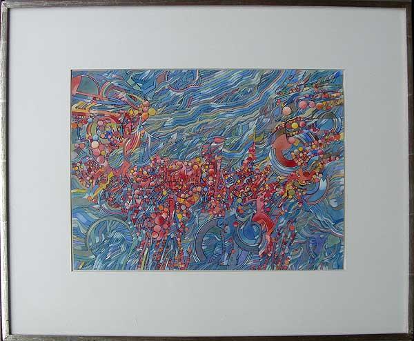 """Varujan Boghosian, 1965  Babylon I , watercolor 10"""" x 14.25"""""""
