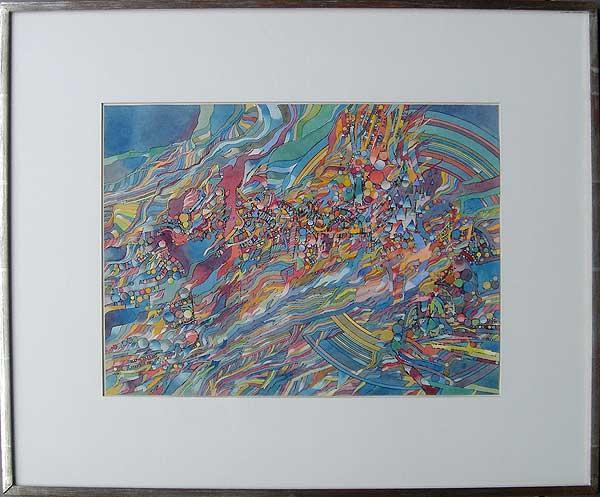 """Varujan Boghosian, 1965  Babylon II , watercolor 10"""" x 14.25"""""""