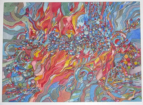 "Varujan Boghosian, 1965  Babylon III , watercolor 28"" x 23.5"""
