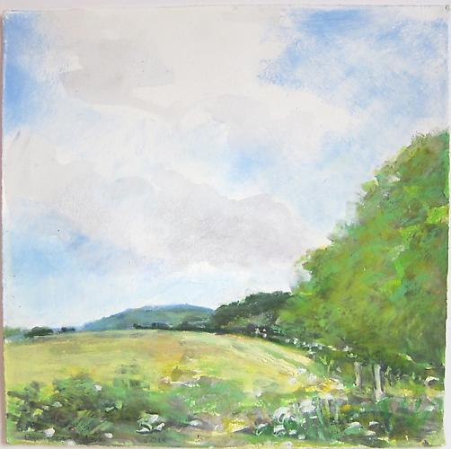 Back Meadow, 2011 Oil pastel over acrylic on paper 10 x 10 inches
