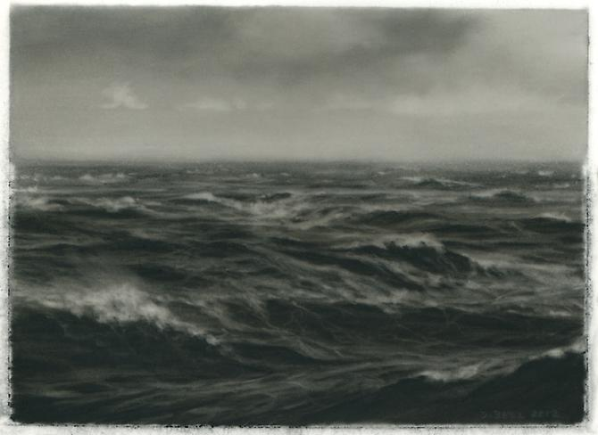 8 Knots, 2012 charcoal on Mylar 3 x 4-1/2 inches