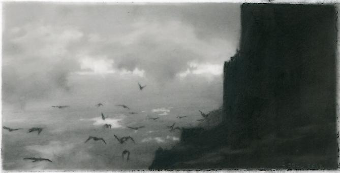 Roost, 2, 2013 charcoal on Mylar 2.25 x 4.5 inches