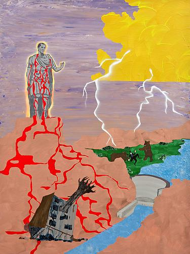 Adelaide Howard Childs About the Johnstown Flood on May 30th, 1889, 2010  acrylic and spray paint on panel 48 x 36 inches