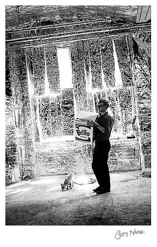 Billy Name Andy with a Brillo box at the Silver Factory, 1964. Edition of 40. Hand pulled serigraphs printed with archival paper and ink, 18 1/2 x 12 1/4 inches.