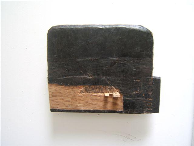 "Paul Bowen, 2012  Black Flat , wood and tarred fabric 8"" x 10"" x 2"""