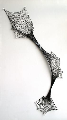 Blow Out, 2009 Black polyester, cotton fishnet stocking and resin 40 x 18 inches