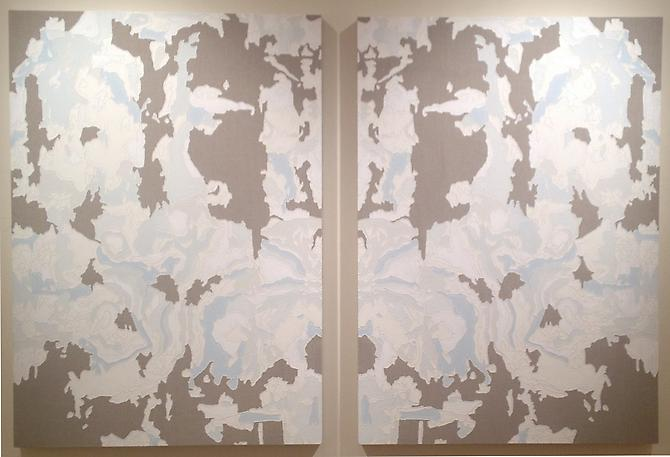 Blue Mandala Diptych II, 2013 Acrylic relief on linen 48 x 68 inches