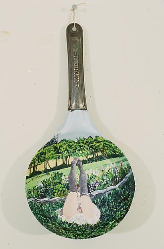 Bottoms Up, 2000 Acrylic Paint on Frying Pan 16 x 8 inches 40.6 x 20.3 cm