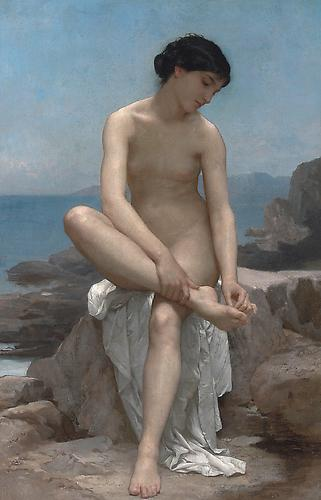 The Bather, 1879 Oil on canvas, 25 ¼ x 16 ¼ inches  Signed and dated lower right: W. BOUGUEREAU 1879 Price upon request