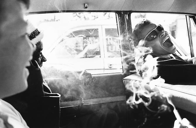 Boys Smoking in Car, Reform School, NY 1963 gelatin silver print
