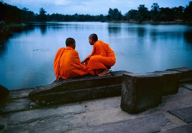 Monks on Causeway, Cambodia