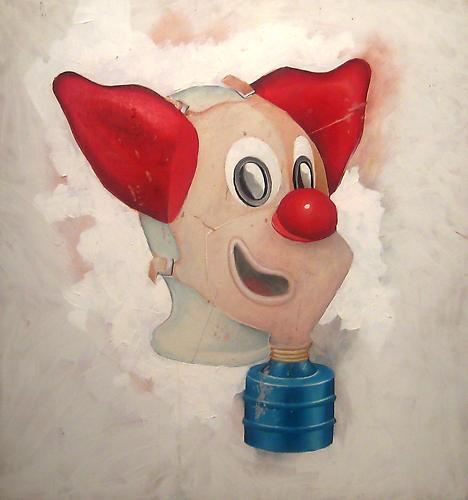 Clown Gasmask, 2002 Acrylic on panel 24 x 24 inches