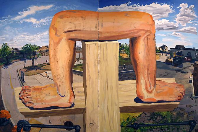 COLIN MUIR DORWARD |  LE LEGS ENJOYING FRESH AIR | OIL ON CANVAS | 72 X 48 INCHES | 2012