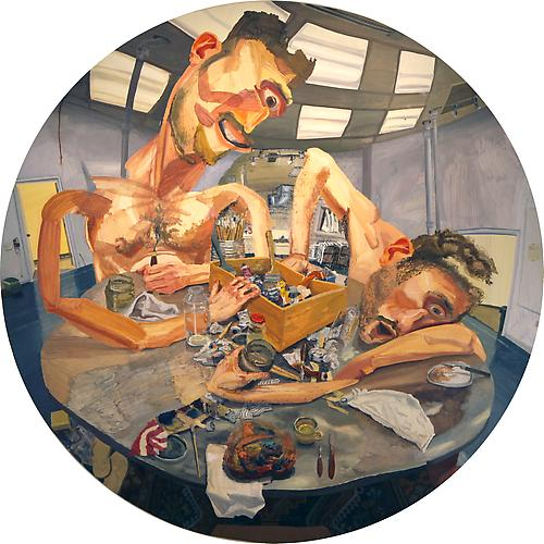 COLIN MUIR DORWARD | MEALTIME | OIL ON CANVAS | 84 X  84 INCHES (DIAMETER) | 2012