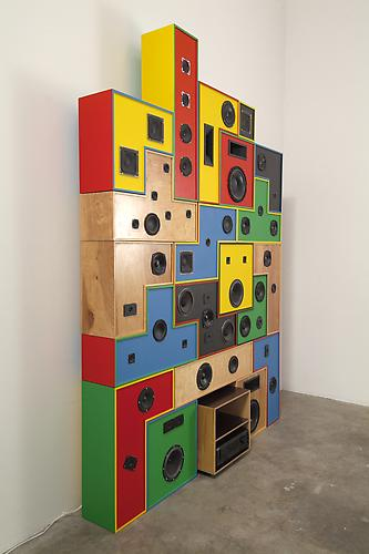 "Chris Beas ""Dorodnicyn Audio Centre of the Academy of Science of the USSR Sound System"", 2007 Wood, paint, woofers, tweeters, mid-range drivers, crossovers 100 x 80 inches"