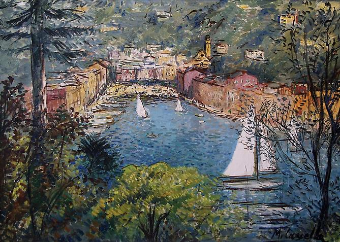 MICHELE CASCELLA (Italian, 1892 – 1989) Portofino, Circa 1960 Oil on canvas, 25 x 35 inches   Signed lower left: Michele Cascella