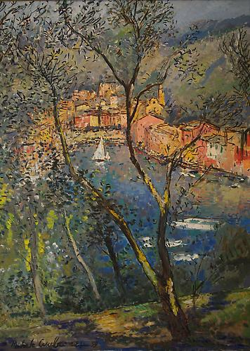 Portofino Harbor, 1959 Oil on canvas, 39 x 28 1/2 inches Signed and dated lower left