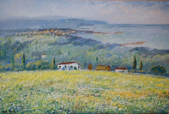 Yellow Flowers Overlooking the Sea, Circa 1968 Oil on canvas 24 x 36 inches  (61 x 91.4 cm) Signed lower left: Michele Cascella Price upon request