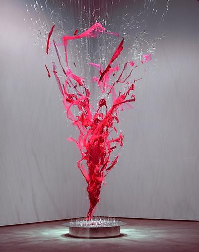 Cherry Bomb Vortex, 2002 Red sequin dresses with monofilament and turnbuckles, dimensions variable