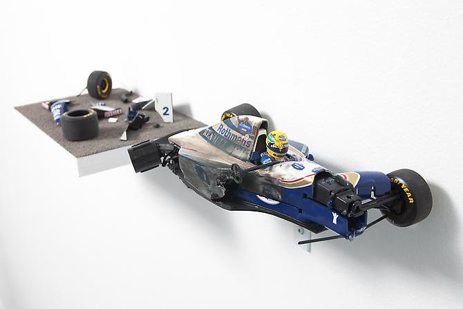 Aryton Senna, Sunday 1 May 1994, 2010 Die cast metal, plastic 3 x 19 x 5.5 inches