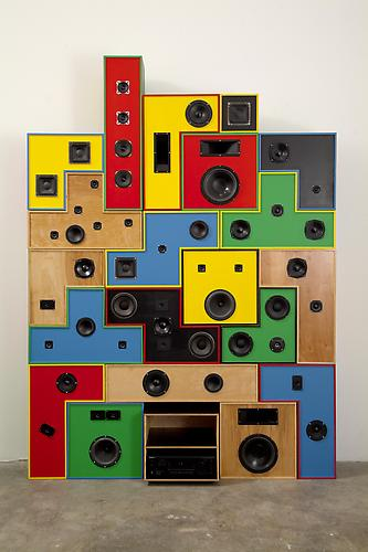 Dorodnicyn Audio Centre of the Academy of Science of the USSR Sound System, 2007 Wood, paint, woofers, tweeters, mid-range drivers, crossovers 100 x 80 inches