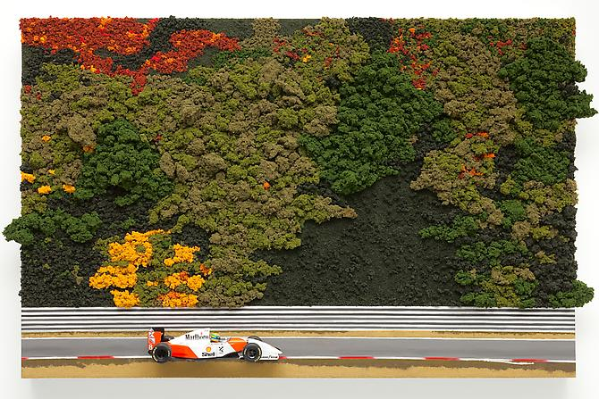 "Chris Beas ""MP 4/8 1993"" 2010 Die cast metal, blended turf, clump foliage, acrylic on canvas on panel 26 x 40 x 7 inches"