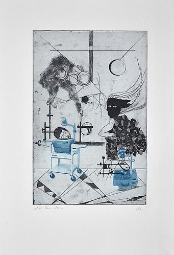Ofri Cnaani,  Projection Room II , 2012 Etching 21 x 15.5 inches / 53.5 x 39.5 cm Edition of 6