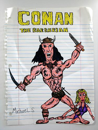 Conan the Barbarian , 2008 marker, prismacolor on paper 67 x 51 inches
