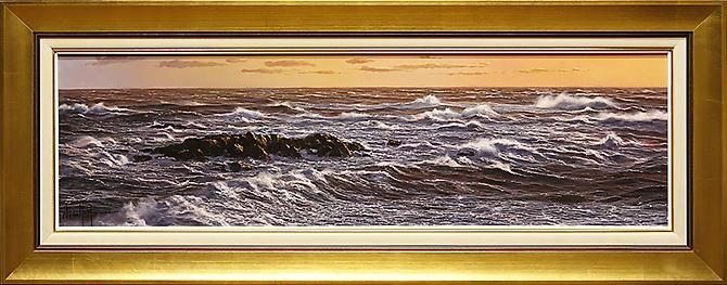"Constant Motion Oil on Board 12"" x 39"" 18"" x 45"" F"