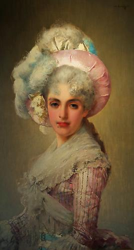 Elegant Woman in Hat Oil on canvas, 37 ½ x 21 ¼ inches  Signed and dated upper right: V. Corcos 1888 Price upon request