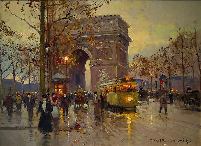EDOUARD-LEON CORTES (French, 1882-1969) Arc de Triomphe Oil on canvas, 13 x 18 inches Signed lower right : Edouard Cortes
