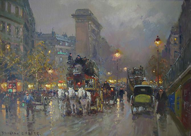 EDOUARD-LEON CORTES (French, 1882-1969) Porte Saint Denis Oil on canvas, 13 x 18 inches  Signed lower left : Edouard Cortes