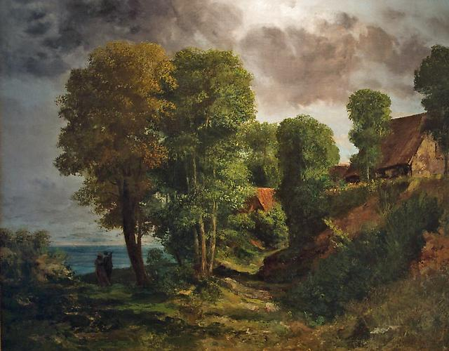 Paysage au Bord de la Mer, 1859 Oil on canvas, 25 ¾ x 32 ¼ inches  Signed lower right: G. Courbet Price upon request
