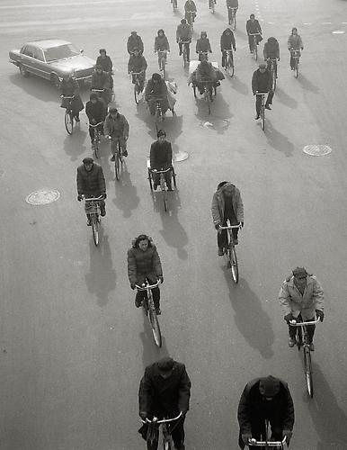 Cyclist from above, Beijing 1989 gelatin silver print