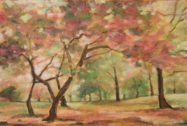 Cherry Trees, 1996 Oil pastels on paper 10 1/2 x 15 1/2