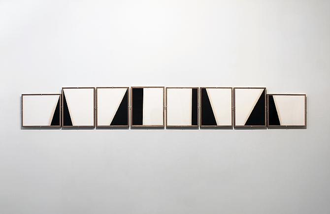 Composition No. 20 , 2013, cotton paper, motor oil, and artist studio frames, 8 panels, 104.75 x 13.75 inches total, 13.75 x 11.78 inches each