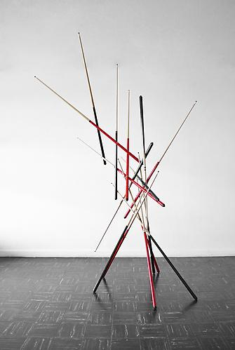 Sixteen Handed Game , 2011, wood and bronze, 94.5 x78 x 63 inches