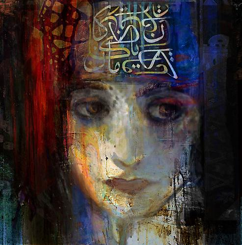 Damascus Queen #2 (2012)  -  SOLD  Mixed Media on Canvas 48 x 48 ""