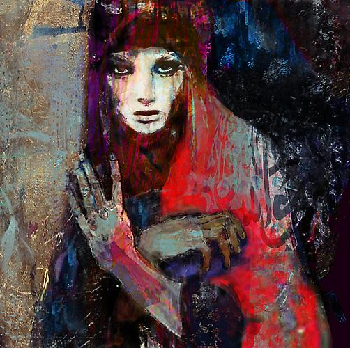 Damascus Queen #3 (2012)  -  Enquire  Mixed Media on Canvas 48 x 48 ""